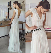 Elegant White/Ivory Sheath Beach Wedding Dress V Neck Lace Chiffon Bridal Gown