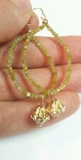Genuine canary yellow Diamond 5ct solid 14k gold flower hoop dangle earrings