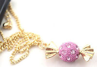 Women Girl Adorable Pink Lolly Candy Dress Necklace Long Chain Pendant Gift her