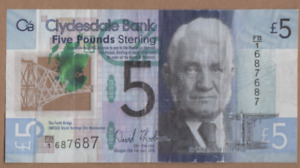 CLYDESDALE BANK  £5 NOTE PREFIX  FB/1 687687 FREEPOST RECORDED UK