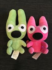 Hallmark Greeting Cards, 2 plush monsters: Hoops and Yoyo, 2004 green/pink!