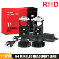 2X H4 9003 Bi-LED Mini Projector Lens Headlight Bulbs Hi/Lo Beam Retrofit RHD