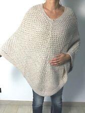 Poncho long maille chaud veste femme tricot gilet cape pull manteau sweat 38