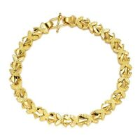 "Women's Bracelet 18K Yellow Gold Filled Hot 7"" Chain unique Link Fashion Jewelry"