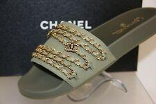 CHANEL KHAKI GREEN CANVAS GOLD CHAINS CC LOGO MULES FLIP FLOPS G31627 SANDALS 42