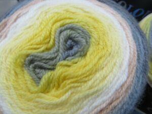 4 X Sirdar Colour wheel  Cakes Knitting Yarn 150g balls lemon/grey/ivory