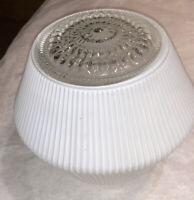 Mid Century Modern Ceiling Ribbed Milk Glass Kitchen Light Lamp Shade Bubble