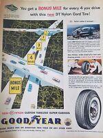 1958 Goodyear 3T Nylon Cord Bonus Mile Original Ad