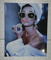 """Girls Night In"" Audrey Hepburn Style Original glitter canvas print."