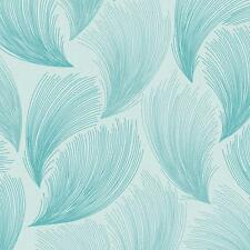 Rasch - Gatsby Fan Feather Motif - In Teal - Glittered Wallpaper 319729