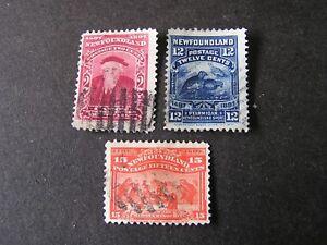 NEWFOUNDLAND, SCOTT # 62+69/70(2), 2c+12c+15c..VALUES 1897 JOHN CABOT ISSUE USED