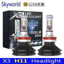 2x H8 H9 H11 LED Headlight Bulb Conversion Kit 3000K 6500K 8000K Fog Lamp X3