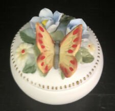 Vintage Porcelain Butterfly Trinket Box