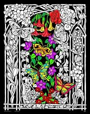 Butterflies & Flowers - Large 16x20 Inch Fuzzy Velvet Coloring Poster