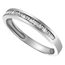 0.20 Cttw Baguette Cut Cubic Zirconia Wedding Ring 10K Solid White Gold