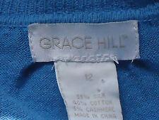 GRACE HILL S/sl5%Cashmere55%SilkCottonBlendVneck Sz12