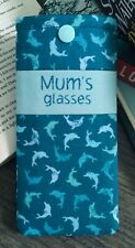 Personalised Dolphin glasses case Handmade fabric blue fish glitter snap pouch