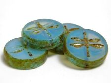 17mm Aquamarine Opal Picasso Czech Glass Table Cut Dragonfly Coin Beads (4)#3391