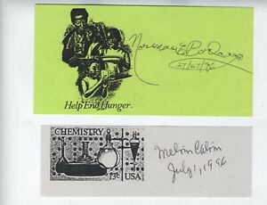 NOBEL PRIZE AUTOGRAPHS NORMAN BORLAUG PEACE PRIZE & MELVIN CALVIN CHEMISTRY
