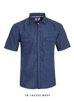 New Mens ID Slim Fit Short Sleeve Button Up Navy Blue Shirt White Polka Dots