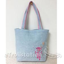 Gymnastics Girls Denim Pink Ballet Shoe Embroidered Duffle Bag w/ Rhinestone