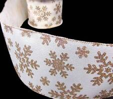 """5 Yd Christmas Gold Glitter Snowflakes Ivory Cream Wired Ribbon 5""""W"""