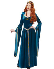 Blue Lady Guinevere Medieval Renaissance Queen Adult Halloween Costume-XL
