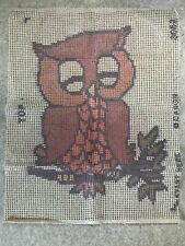 Vintage Caron latch hook rug canvas 21�x27� 1970s Owl - Canvas Only