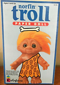 "NIB Vintage 10"" Norfin TROLL  DOLL Dress Up By Colorforms NEW"