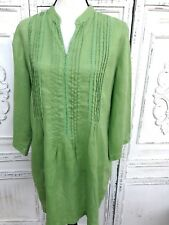 J. JILL Size L New Leaf Green Linen Tunic Top Notch Neck Lace Pleated 3/4 Sleeve