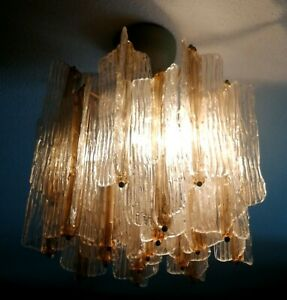 lampadario originale venini design toni zuccheri vetro corteccia anni 60 vintage