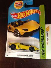 Lamborghini Aventador J #196 YELLOW * USA CARD * 2014 Hot Wheels A13
