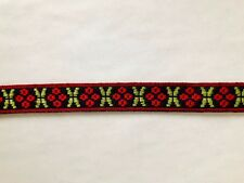 Folk Art Ribbon Swedish Lingonberry Christmas Hand Woven 5/8