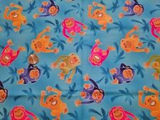 Rare ROBERT KAUFMAN Over the Rainbow blue monkey fabric 1 yd palm trees jungle
