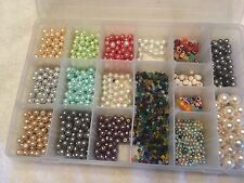 2.25 Pounds Mixed Lot Glass Pearls Beads Sorted in Plastic Divided Container