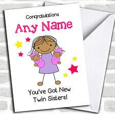 Congratulazioni asiatico NUOVO BAMBINO BAMBINA TWIN Sisters pari livello carta personalizzati