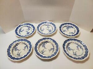 Antique / Vintage Set of 6 Blue & White Chatsworths Scalloped Edge Soup Bowls