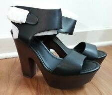 """NEW Breckelle's """"Rudy"""" Womens Shoes Black Ankle Strap Brown Platform Heels Sz 8"""