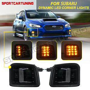 For 2015-2017 Subaru WRX STI Dynamic LED Front Turn Signal Lights Lamp Indicator