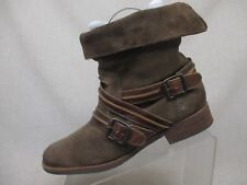 COCONUTS Matisse Distress Brown Suede Fold Over Ankle Boots Booties Size 9.5 M