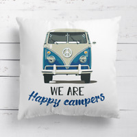 We Are Happy Campers VW Camper Van Caravan Cushion Cover Pillow Case & Filler