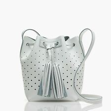J Crew TASSEL TIE MINI BUCKET BAG IN PERFORATED LEATHER~NEW WITH TAGS~WHITE