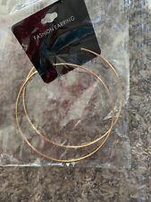 LARGE 4 INCH HOOP EARRINGS GOLD TONE SIMPLE THIN HOOPS