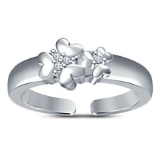 Heart Double Flower Adjustable Toe Ring 14K White Gold Over Cubic Zirconia