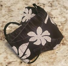 Handmade 3D Face Mask (made in Hawaii) USA face cover (Black Monstera Leaves)