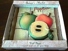 "Apples Fruit SABINA LORENC Farmer's Market Wall Plaque Decor 5 1/2"" X 5 1/2"" 3-D"