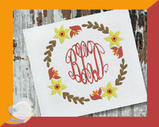 Fall Wreath Frame Machine Embroidery Design