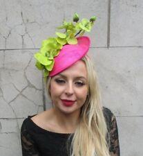 e67e6b0d970e3 Hot Cerise Pink Lime Green Orchid Flower Saucer Disc Hat Fascinator Races  6833
