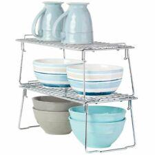 mDesign Metal Stackable Kitchen Storage Organizer Shelf, 2 Pack, Chrome