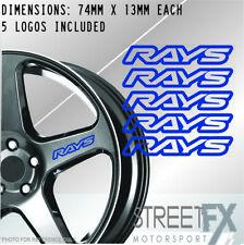 5x Rays Blue Wheel Rim Sticker Kit JDM Drift Race Car Hoon Turbo Racing Hub